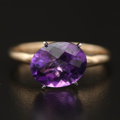 10K  East-West Amethyst Solitaire Ring