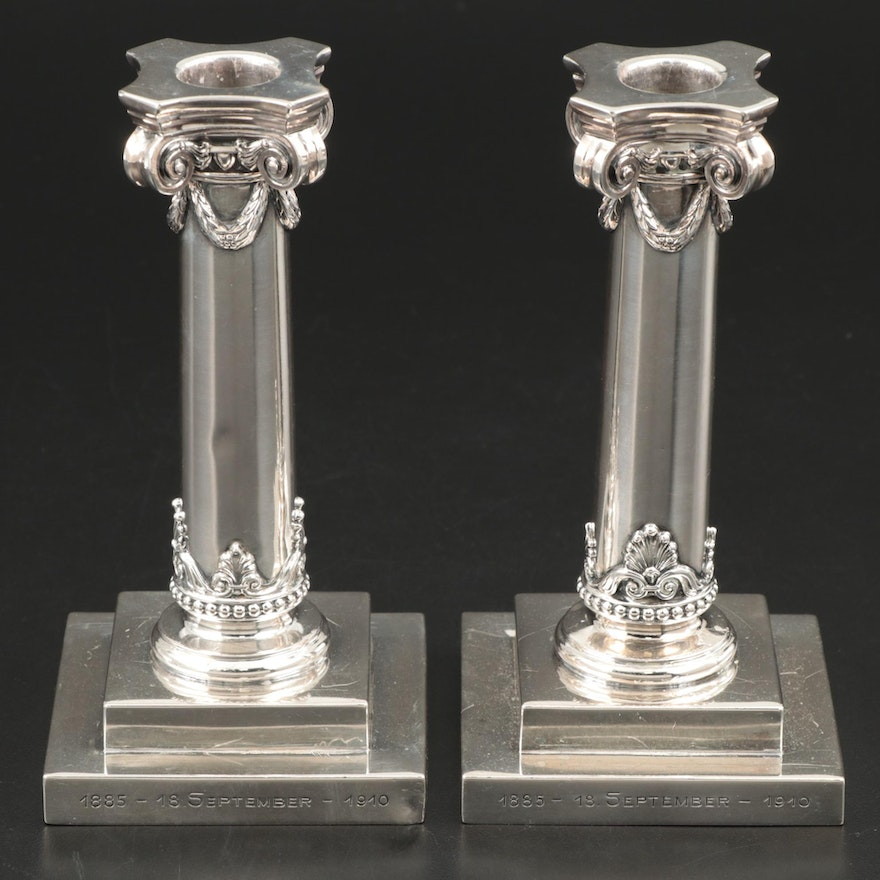M. H. Wilkens & Söhne 800 Silver Columnar Form Candlesticks, Early 20th Century