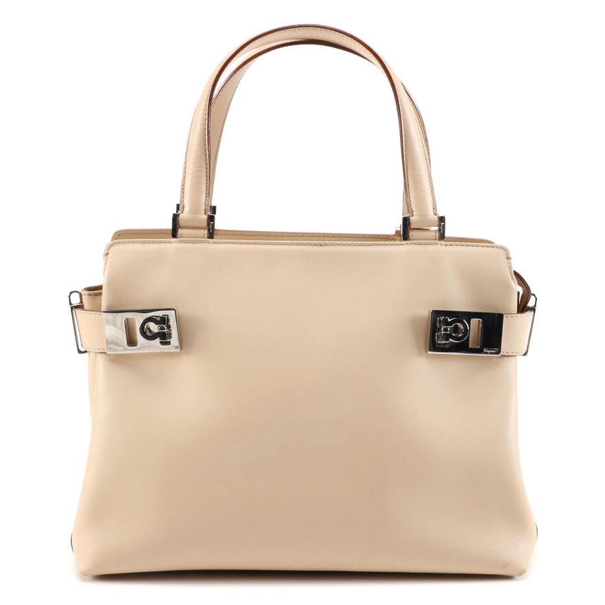 Salvatore Ferragamo Gancini Two-Way Handbag in Beige Leather