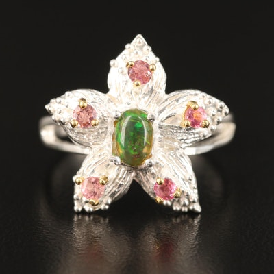Sterling Opal and Tourmaline Floral Motif Ring