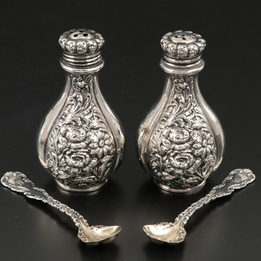 American Repoussé Sterling Shakers with Whiting Mfg. Co. Sterling Salt Spoons