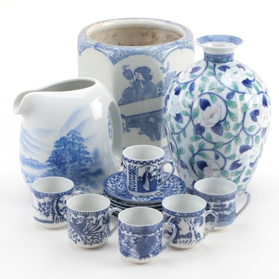 Japanese Blue and White Porcelain Coffee Set with Pitcher, Planter and Vase