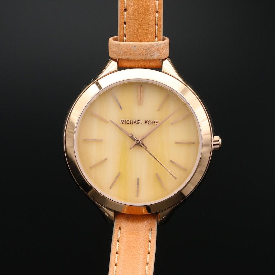 Michael Kors Slim Runway Double Strap Rose Gold Tone Quartz Wristwatch