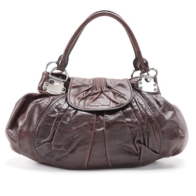 Miu Miu Hobo Bag in Dark Brown Gathered Vitello Lux Leather