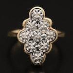 10K Diamond Navette Style Ring
