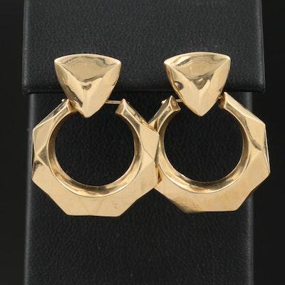 14K Front Facing Faceted Hoop Earrings