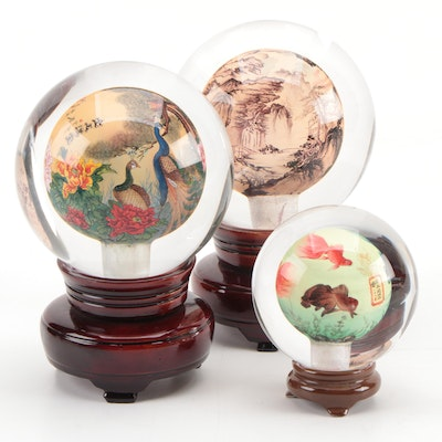 Chinese Reverse Painted Glass Spheres on Pedestals