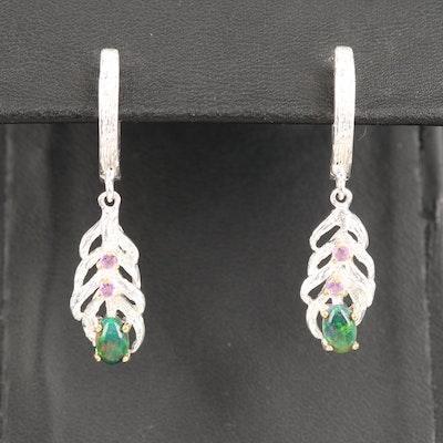 Sterling Opal and Amethyst Dangle Earrings