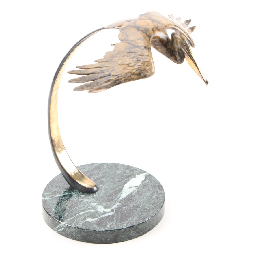 Brass Flying Pelican Figurine on Marble Base, Late 20th Century