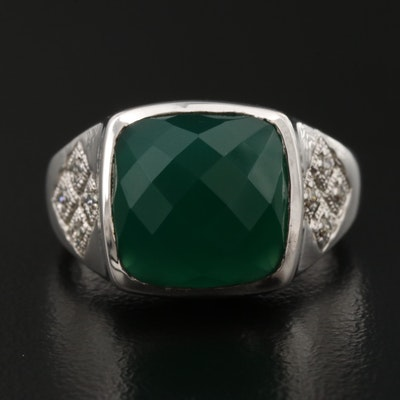 Gabriel & Co. Sterling Silver Green Chalcedony and Diamond Ring
