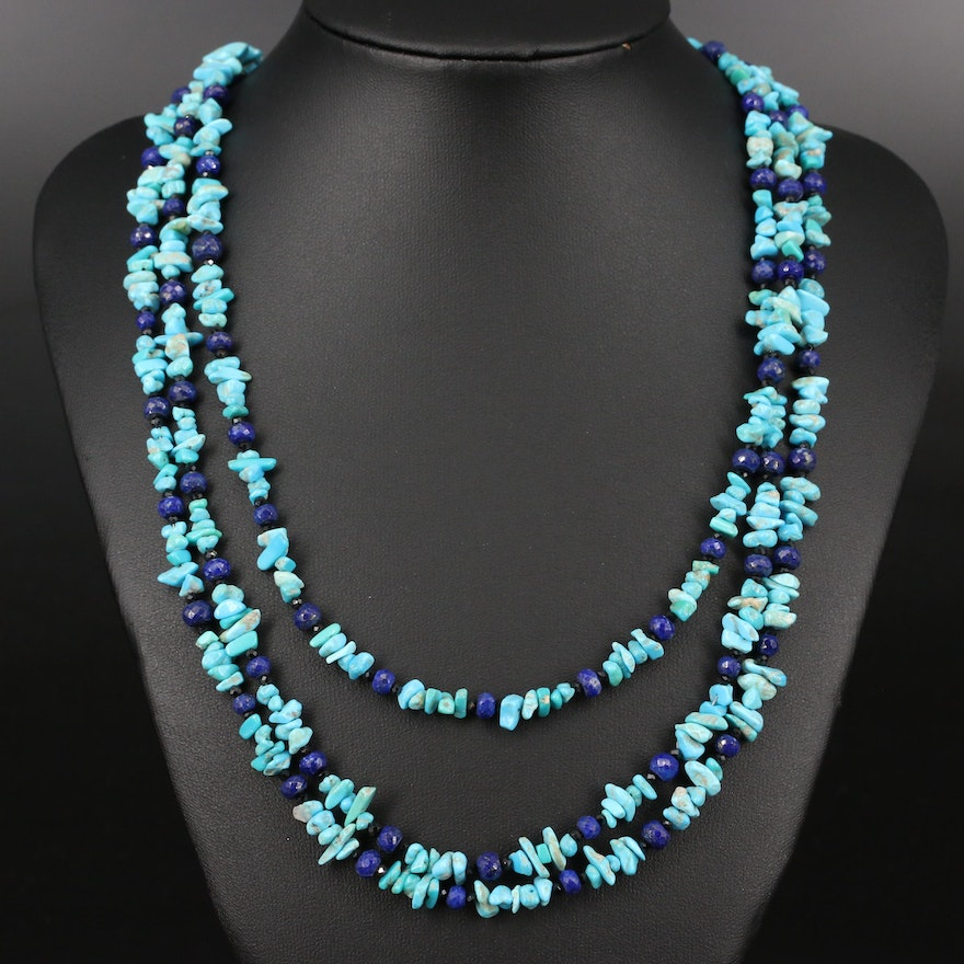 Beaded Turquoise, Lapis Lazuli and Spinel Necklace with Sterling Silver Clasp