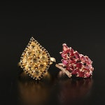Sterling Citrine, Corundum and Cubic Zirconia Cluster and Foliate Motif Rings