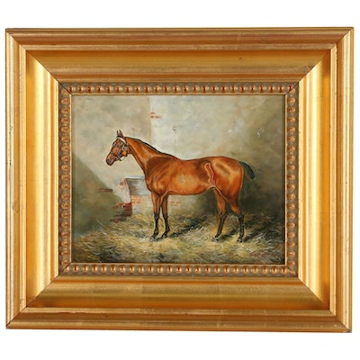Oil Painting of Chestnut Horse, 20th Century