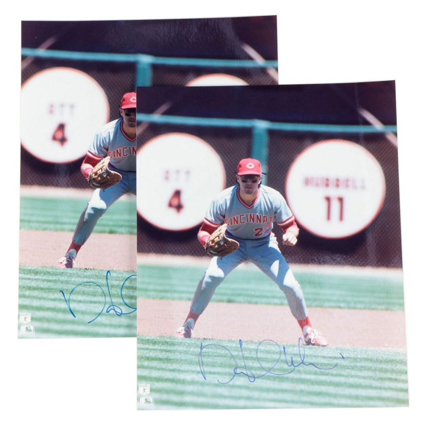 1990s Hal Morris Signed Cincinnati Reds Photo Prints