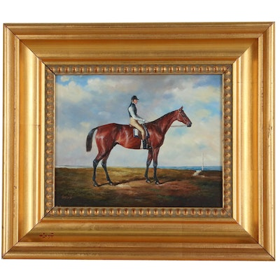 Oil Painting of Jockey and His Horse, 20th Century