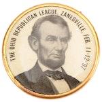 """Abraham Lincoln """"The Ohio Republican League,"""" Zanesville, Ohio Button, 1897"""