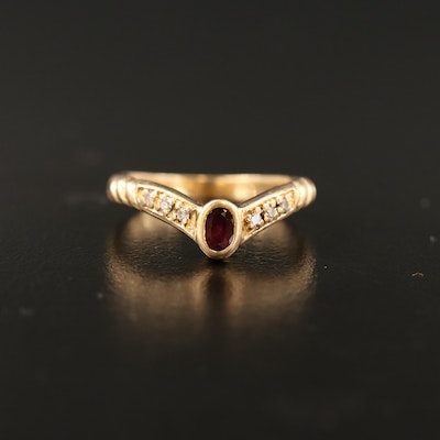 14K Ruby and Diamond Chevron Ring