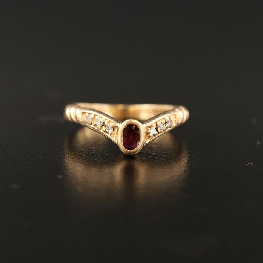 14K Ruby and Diamond Chevron Ring