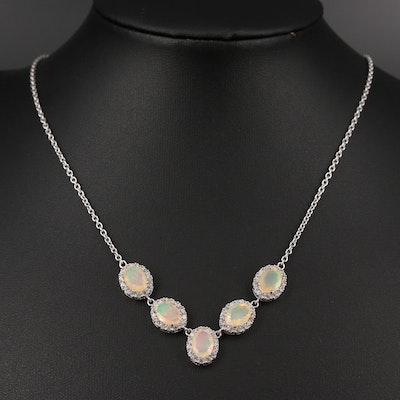 Sterling Silver Opal and Zircon Halo Pendant Necklace