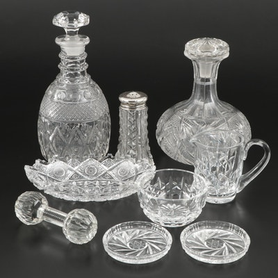 Cut Crystal and Glass Decanters and Other Table Accessories