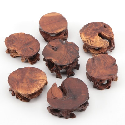 Chinese Carved Burl Wood Stands