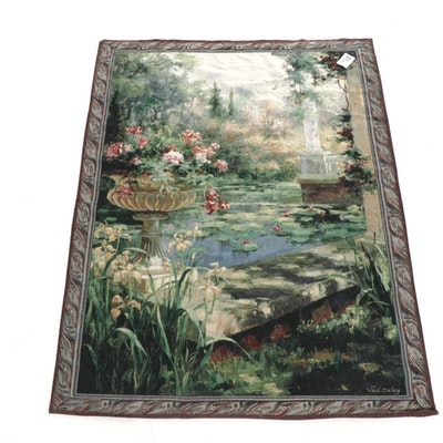 """Machine-Woven Jacquard Tapestry after Vail Oxley """"The Lily Garden"""""""