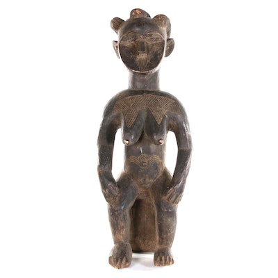 Mossi Style Hand-Carved Wooden Seated Female Figure, West Africa