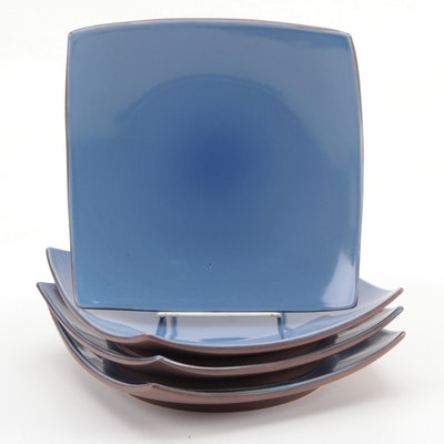 Set of Square Blue and Brown Ceramic Plates