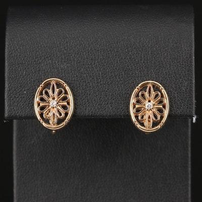 10K Diamond Floral Screwback Earrings