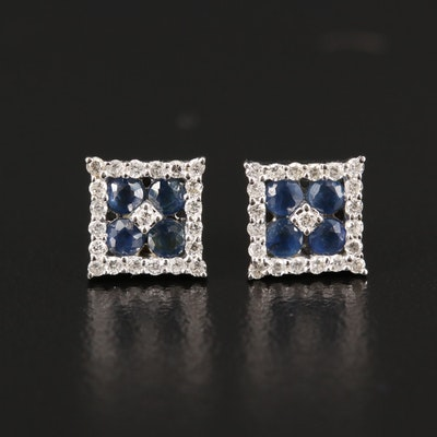 14K Diamond and Sapphire Stud Earrings