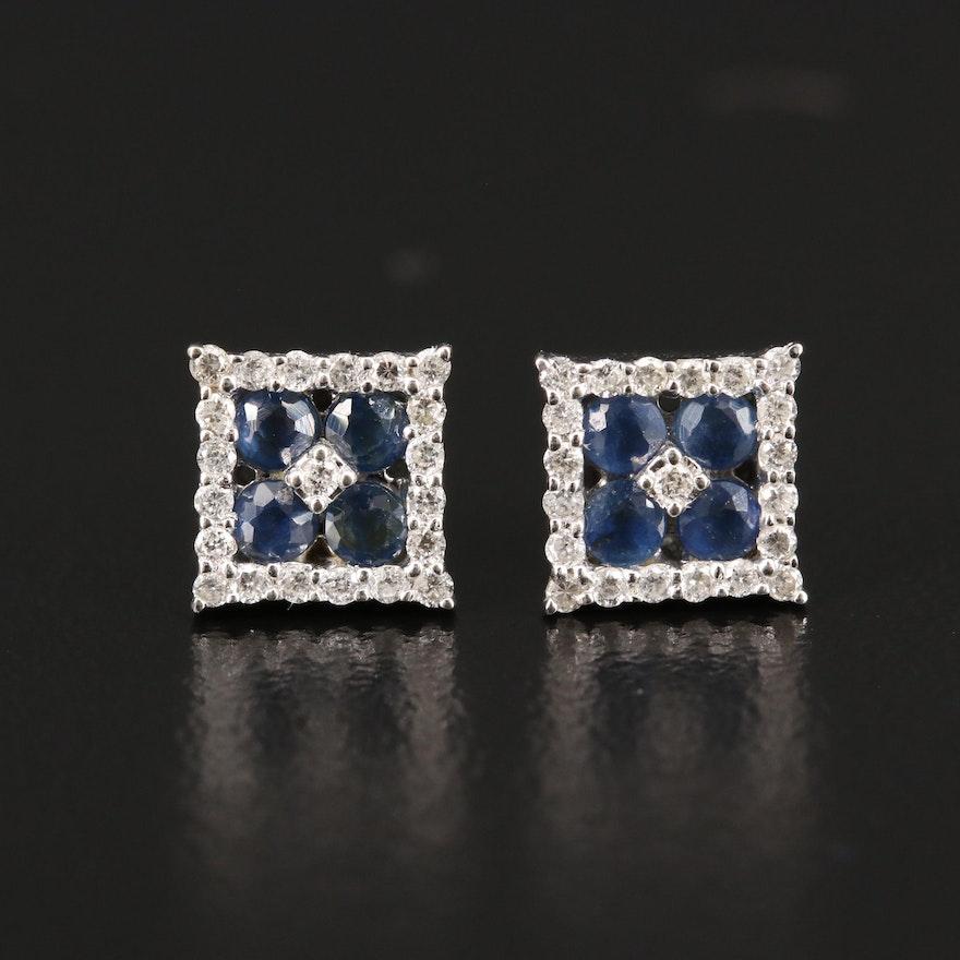 14K Diamond and Sapphire Stud Earrings