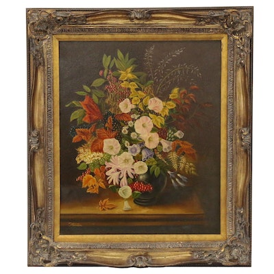 Terence Alexander Still Life with Morning Glories Oil Painting, Mid 20th Century