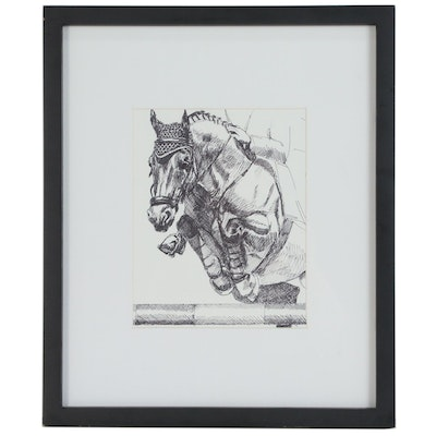 "Regina Raab Pen and Ink Drawing ""Show Jumping"", 20th Century"