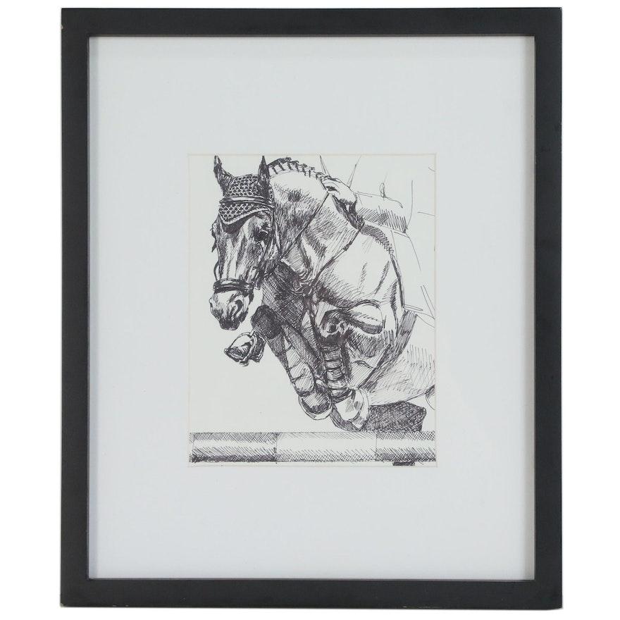 "Regina Raab Pen and Ink Drawing ""Show Jumping"", 20th Century"