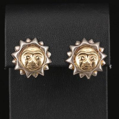 Sterling Silver Sun Face Earrings