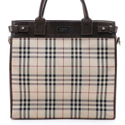 """Burberry """"House Check"""" Nylon Canvas Tote Bag with Brown Leather Trim"""
