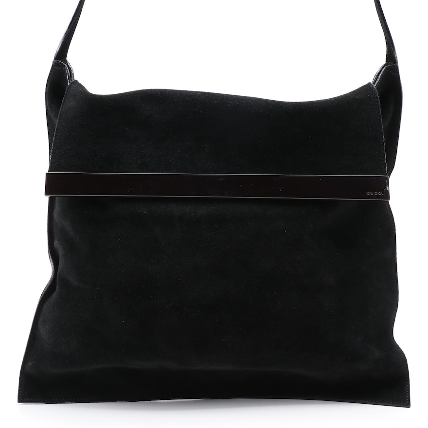 Gucci Black Suede Shoulder Tote Bag with Leather Trim