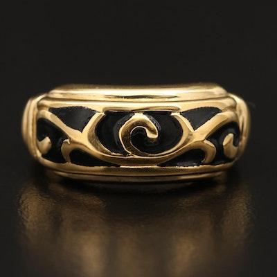 14K Inlaid Enamel Ring