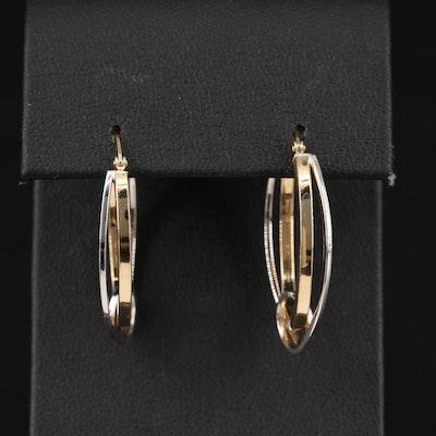 14K Two-Color Oval Hoop Earrings