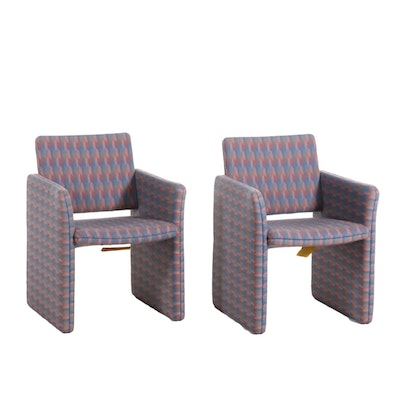 Pair of Modern Style Upholstered Armchairs, Late 20th Century