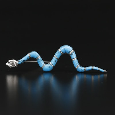 Sterling Silver Turquoise Snake Brooch
