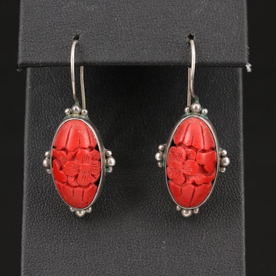 Sterling Silver Chinese Lacquer Floral Drop Earrings