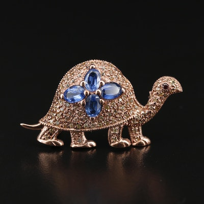 Sterling Silver Kyanite, Sapphire and Rhodolite Garnet Turtle Brooch