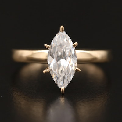 14K Marquise Faceted Cubic Zirconia Ring