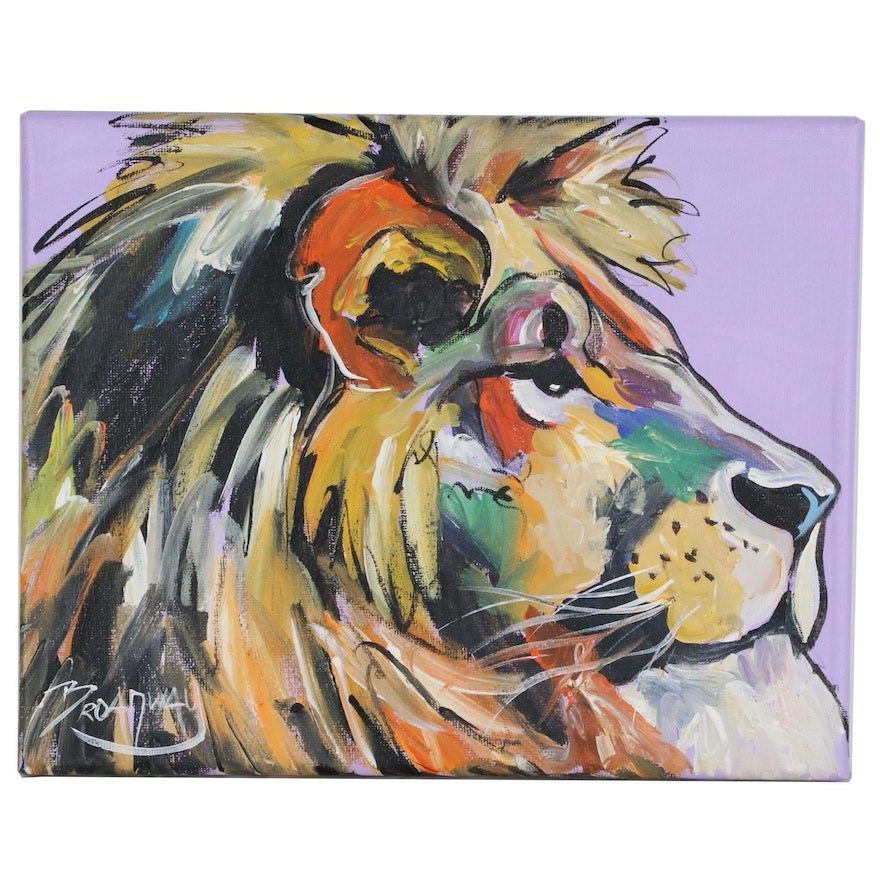 Marc Broadway Acrylic Painting of a Lion, 21st Century