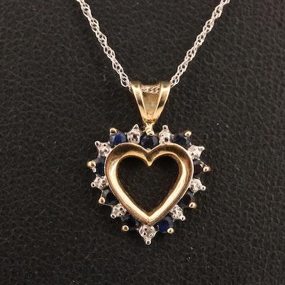 10K Sapphire and Diamond Heart Pendant Necklace