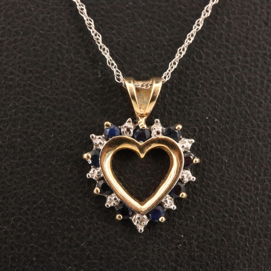 10K Sapphire and Diamond Heart Pendant Necklace