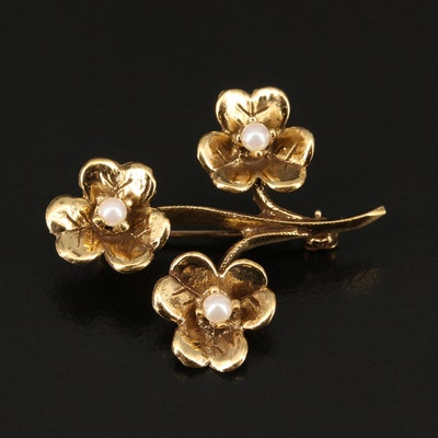14K Pearl Floral Brooch