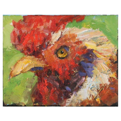 Elle Raines Acrylic Painting of a Rooster, 21st Century