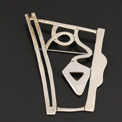 Mexican Abstract Sterling Silver Brooch